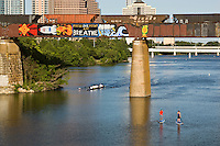 Austin's Graffiti Bridge - inspirational graffiti paintings over Lady Bird Lake Stock Photo Gallery