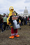 Eric Cardwell, 33 of Arlington VA.  dressed as a combo of Big Bird and Mitt Romney shows his support for PBS and President Obama at the MIllion Muppet March on the National Mall in front of the Capital in Washington DC Saturday Nov. 3, 2012. Supporters of President Obama and PBS rally Saturday in  Washington DC just days before the Presidential Election.Photo ©Suzi Altman