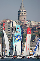 Extreme Sailing Series 2011. Act 3.Turkey . Istanbul.Pictures of the fleet turning under the Galata Tower as they round a mark during todays racing..Credit: Lloyd Images