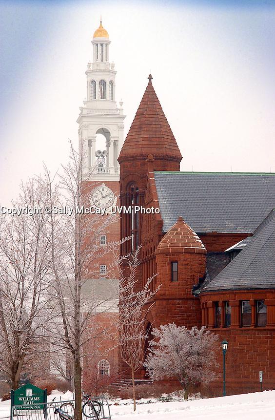 Ira Allen Chapel and Billings Library, UVM Campus Green, Winter UVM Campus