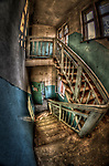 Abandoned lunatic asylum north of Berlin, Germany. Stairwell.