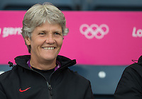 Glasgow, Scotland - Saturday, July 28, 2012: Pia Sundhage of the USA Women's soccer team against Colombia in the first round of the Olympic football tournament at Hamden Park.