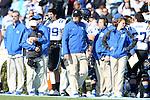 30 November 2013: Duke head coach David Cutcliffe (center). The University of North Carolina Tar Heels played the Duke University Blue Devils at Keenan Memorial Stadium in Chapel Hill, NC in a 2013 NCAA Division I Football game. Duke won the game 27-25.