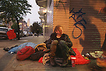 Shera, age 17, homeless on Haight Street spends most of her time on Haight and Cole begging for share change for beer In San Francisco, California.