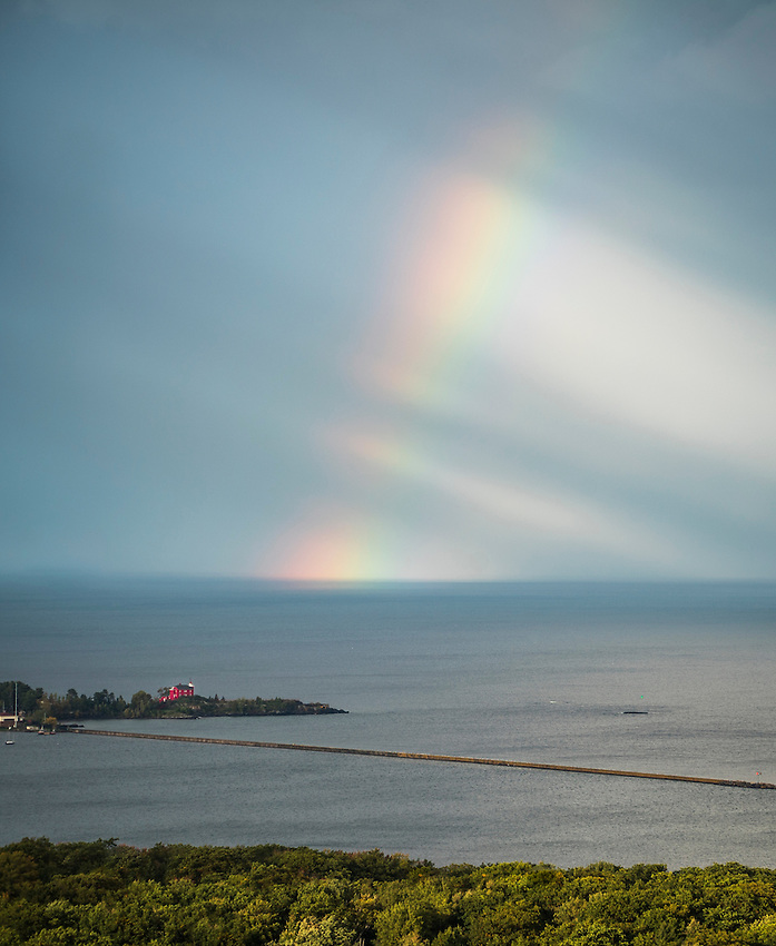 A rainbow over Lake Superior during an autumn storm in Marquette, Michigan.