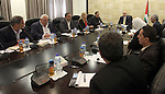 Palestinian Prime Minister Rami Hamdallah meets with members of supreme national committee for the reform of the education system, in the West Bank city of Ramallah on August 31, 2015. Photo by Prime Minister Office