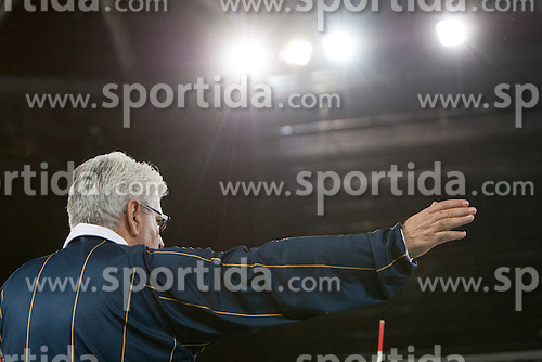 Referee during volleyball match between ACH Volley (SLO) and Euphony Asse-Lennik (BEL) in 3rd Leg of Pool D of 2013 CEV Champions League on November 14, 2012 in Arena Stozice, Ljubljana, Slovenia. (Photo By Urban Urbanc / Sportida)