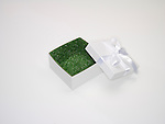 Open gift box and lid with green grass lining