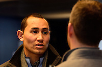 New York Red Bulls goalkeeper Luis Robles (31) is interviewed at Red Bull Arena in Harrison, NJ, on January 24, 2014.