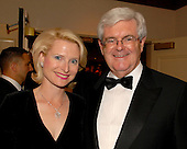 Washington, D.C. - April 21, 2007 -- Former Speaker of the House Newt Gingrich (Republican of Georgia), right, and his wife, Callista, attend one of the parties prior to the 2007 White House Correspondents Association dinner at the Washington Hilton in Washington, D.C. on Saturday evening, April 21, 2007..Credit: Ron Sachs / CNP                                                               (NOTE: NO NEW YORK OR NEW JERSEY NEWSPAPERS OR ANY NEWSPAPER WITHIN A 75 MILE RADIUS OF NEW YORK CITY)