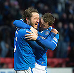 St Johnstone v Dundee United.....29.12.13   SPFL<br /> Stevie May celebrates his third goal with Tam Scobbie<br /> Picture by Graeme Hart.<br /> Copyright Perthshire Picture Agency<br /> Tel: 01738 623350  Mobile: 07990 594431