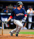 11 March 2010: Boston Red Sox infielder Jed Lowrie in action during a Spring Training game against the New York Mets at Tradition Field in Port St. Lucie, Florida. The Red Sox defeated the Mets 8-2 in Grapefruit League action. Mandatory Credit: Ed Wolfstein Photo