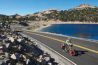 Touring cyclist - Lassen National Park, CA - USA - Adventure Cycling Sierra Cascades Rout e- Canada to Mexico Expedition