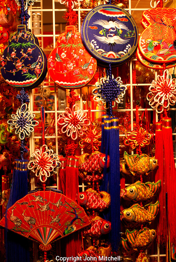 Chinese decorations for sale at Chinese New Year 2011 celebrations in Tinseltown Mall, Chinatown, Vancouver, BC, Canada..