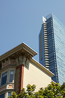 Heritage building and the Shangri La  Hotel, the tallest building in Vancouver, British Columbia, Canada