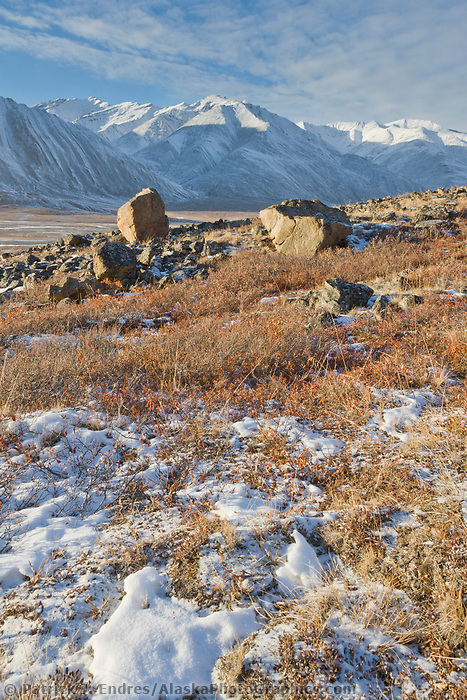 Winter landscape of the Brooks range mountains in Atigun canyon, Alaska