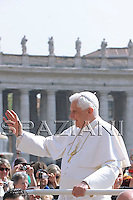 Pope Benedict XV reacts during his weekly general audience, in St. Peter's Square, at the Vatican, Wednesday, April 15, 2009.