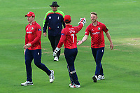 Jamie Porter of Essex is congratulated by his team mates after taking the wicket of Zak Crawley during Kent Spitfires vs Essex Eagles, Royal London One-Day Cup Cricket at the St Lawrence Ground on 17th May 2017