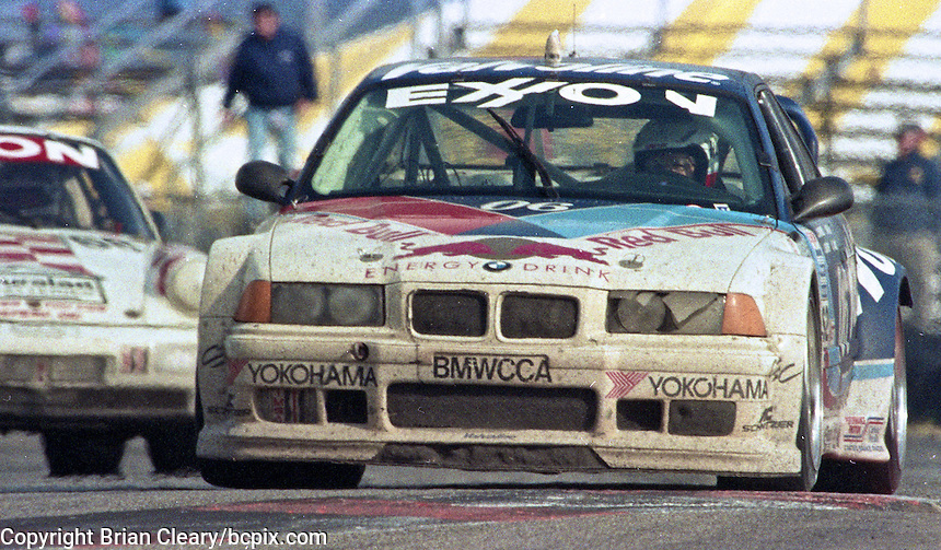 The #06 BMW M3 of Bill Adams, Pete Halsmer, David Donohue, Javier Quiros, and John Paul Jr. races to a 9th place finish in the 24 Hours of Daytona, IMSA race, Daytona International Speedway, Daytona Beach , FL, February 4, 1996.  (Photo by Brian Cleary/www.bcpix.com)