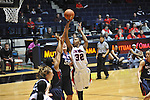 "Ole Miss's Tia Faleru (32) vs. Belmont's Alyssa Visbeen (50) at the C.M. ""Tad"" Smith Coliseum in Oxford, Miss. on Sunday, December 16, 2012. Ole Miss won 63-48."