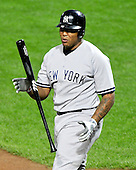 New York Yankees designated hitter Andruw Jones (18) shows his frustration as he bats in the second inning against the Baltimore Orioles at Oriole Park at Camden Yards in Baltimore, Maryland in the second game of a doubleheader on Sunday, August 28, 2011.  .Credit: Ron Sachs / CNP.(RESTRICTION: NO New York or New Jersey Newspapers or newspapers within a 75 mile radius of New York City)