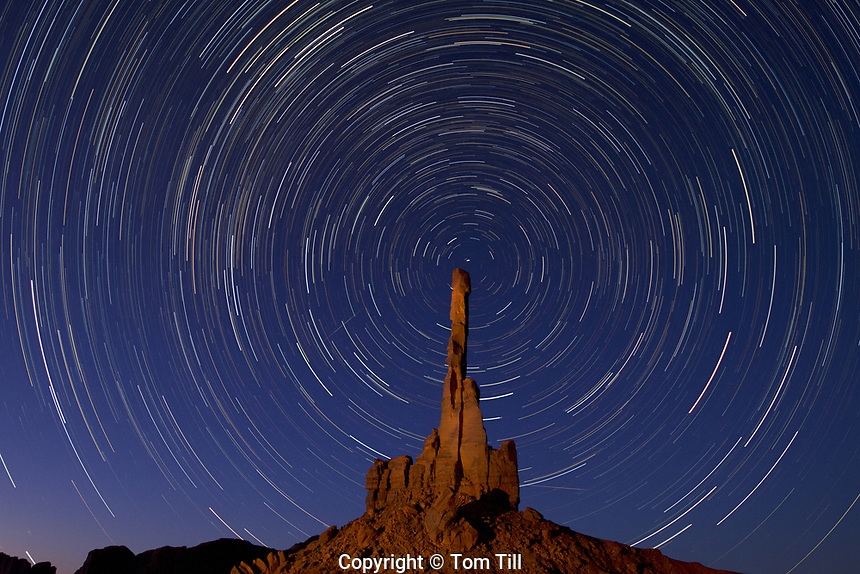 The Totem Pole at night, Monument Valley Tribal Park, Arizona  Navajo Reservation, thin pinnacle of De Chelly sandstone