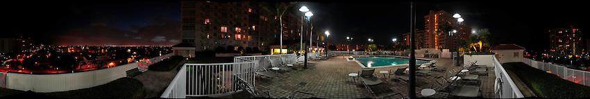 Panoramic of pool deck at Tides at Bridgeside Square