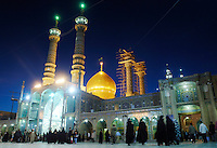 The golden dome and twin minarets of the Hazrat-i Ma'sumeh mosque, Fatimah's shrine in Qom, the second holy city of Iran. Fatimah, the sister of the 8th Imam, died here in 816 AD.