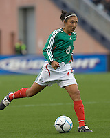 Fatima Leyva passes. USA women's national team defeated Mexico 5-0 at Gillette Stadium in Foxborough MA on April 14, 2007