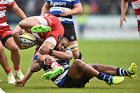 Aled Brew of Bath Rugby tackles Jonny May of Gloucester Rugby. Aviva Premiership match, between Bath Rugby and Gloucester Rugby on April 30, 2017 at the Recreation Ground in Bath, England. Photo by: Patrick Khachfe / Onside Images