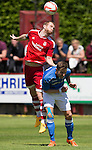 Aberdeen v St Johnstone...28.06.15  Glebe Park, Brechin..Pre-Season Friendly<br /> Mark Reynolds gets above Steven MacLean<br /> Picture by Graeme Hart.<br /> Copyright Perthshire Picture Agency<br /> Tel: 01738 623350  Mobile: 07990 594431