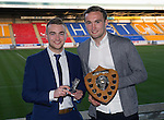 St Johnstone Player of the Year Awards 2014-15.....16.05.15<br /> Ewan Burnie presents the Auchterarder Saints Young Player of the Year Award to Chris Kane<br /> Picture by Graeme Hart.<br /> Copyright Perthshire Picture Agency<br /> Tel: 01738 623350  Mobile: 07990 594431