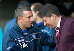St Johnstone v Hearts...25.09.11   SPL Week 9.Derek McInnes welcomes Pualo Sergio .Picture by Graeme Hart..Copyright Perthshire Picture Agency.Tel: 01738 623350  Mobile: 07990 594431