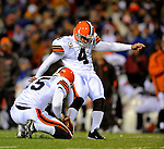 17 November 2008:  Cleveland Browns' place kicker Phil Dawson kicks a 33 yard field goal in the first quarter against the Buffalo Bills at Ralph Wilson Stadium in Orchard Park, NY. The Browns defeated the Bills 29-27 in the Monday Night AFC matchup. *** Editorial Sales Only ****..Mandatory Photo Credit: Ed Wolfstein Photo