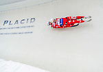 5 December 2014:  Florian Gruber and Simon Kainzwaldner, sliding for Italy, bank into Curve 10 on their second run, ending the day with a 15th place finish and a combined 2-run time of 1:29.545 in the Men's Doubles Competition at the Viessmann Luge World Cup, at the Olympic Sports Track in Lake Placid, New York, USA. Mandatory Credit: Ed Wolfstein Photo *** RAW (NEF) Image File Available ***