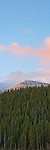 Vertorama view of trees, mountain, and sky from Bear Lake at sunrise. Rocky Mountain National Park, Colorado.