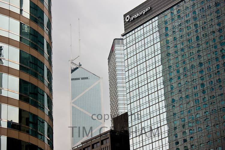 Hong Kong Financial District from One and Two Exchange Square, The Stock Exchange, Bank of China, JP Morgan, China
