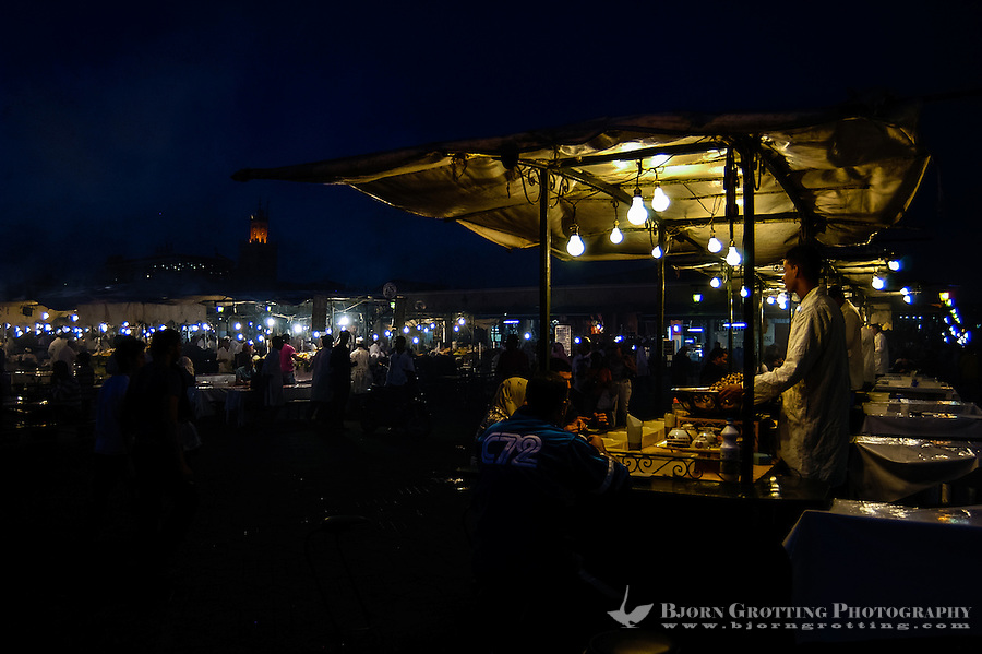 Morocco, Marrakesh. Jamaa el Fna is a square and market place in the medina quarter (old city). Food stalls.