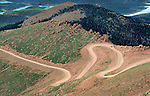 Curvy Pikes Peak highway winds its way to the top, near Colorado Springs, Colorado