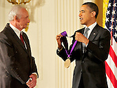 United States President Barack Obama awards the 2011 National Medal of Arts to Mel Tillis during a ceremony in the East Room of the White House in Washington, D.C. on Monday, February 13, 2012..Credit: Ron Sachs / Pool via CNP
