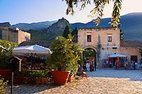 Restaurants in the baglio di Scopello courtyard  [ manor house of scopello ] Castellammare Del Golfo , Sicily.