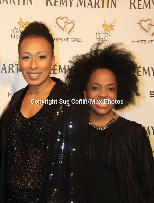 "ATWT Tamara Tunie (co-mistress of ceremonies) poses with Another World's Rhonda Ross at Hearts of Gold's 16th Annual Fall Fundraising Gala & Fashion Show ""Come to the Cabaret"", a benefit gala for Hearts of Gold on November 16, 2012 at the Metropolitan Pavilion, New York City, New York.   (Photo by Sue Coflin/Max Photos)"