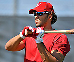 19 February 2011: Washington Nationals' outfielder Michael Morse prepares for hitting drills during Spring Training at the Carl Barger Baseball Complex in Viera, Florida. Mandatory Credit: Ed Wolfstein Photo