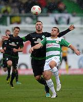 Fussball 1. Bundesliga :  Saison   2012/2013   9. Spieltag  27.10.2012 SpVgg Greuther Fuerth - SV Werder Bremen Marko Arnautovic (li, SV Werder Bremen)  gegen Heinrich Schmidtgal (Greuther Fuerth)