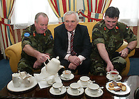 04/04/2008.Lieutenant General Pat Nash, the Operational Commander of EUFOR Chad Mission, An Taoiseach Bertie Ahern, TD & Chief of Staff Dermot Early during a meeting between the three at McKee Barracks, Blackhorse Ave, Dublin..Photo: Gareth Chaney Collins