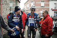 Niki Terpstra (NED/Etixx-Quickstep) after winning the 2016 GP Samyn getting escorted to the press tent