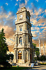 The Ottoman style clock tower of the  Dolmabahçe (Dolmabahce)  Palace, built by Sultan, Abdülmecid I between 1843 and 1856. Istanbul Turkey