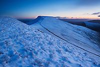Winter view from Corn Du towards Pen Y Fan, Brecon Beacons national park, Wales