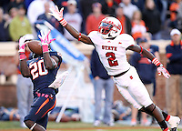 Oct. 22, 2011 - Charlottesville, Virginia - USA; Virginia Cavaliers wide receiver Tim Smith (20) makes a touchdown catch in front of North Carolina State wide receiver Rashard Smith (2) during an NCAA football game at the Scott Stadium. NC State defeated Virginia 28-14. (Credit Image: © Andrew Shurtleff/