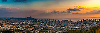 Sunset over Diamond Head, Waikiki and downtown Honolulu, O'ahu.